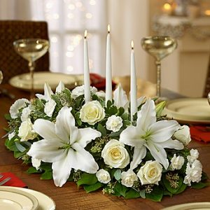 All White Centerpiece arrangement by Thomas Florist