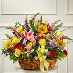 Bright Flower Sympathy Basket by Thomas Florist