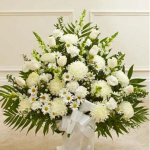 Heartfelt Tribute in White by Thomas Florist