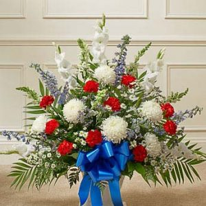 Heartfelt tribute Floor Basket Arrangement - Red, White & Blue
