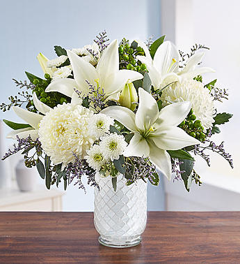 Pure Elegance Bouquet In White Mosaic Vase Thomas Flowers Gifts